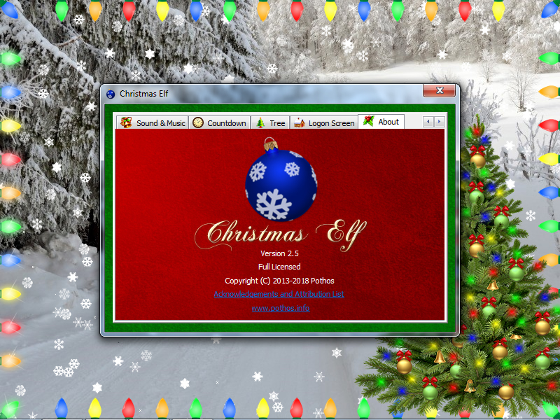 Launched Christmas Elf, the Settings window, the About tab