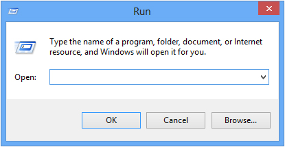Run dialog box in Windows 8.